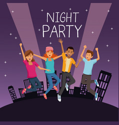 friends at night party vector image