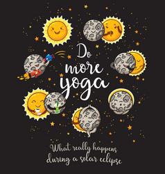 moon is doing yoga solar eclipse cartoon vector image