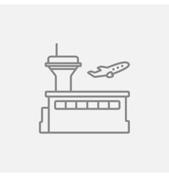 Plane taking off line icon vector