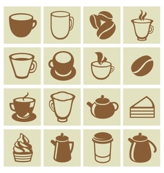 set of coffee and tea icons vector image vector image