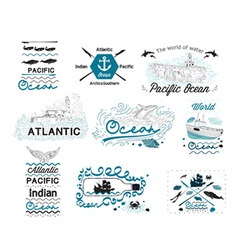 Set of Vintage Nautical Labels Logos and elements vector image