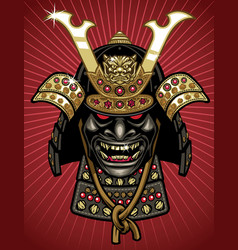 detailed of traditional samurai helmet and mask vector image vector image