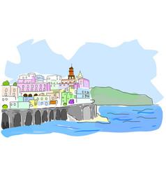 mediterranean town sketch of sea town in vector image vector image