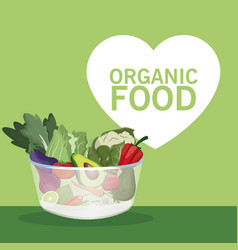 organic food bowl with vegetables vector image vector image