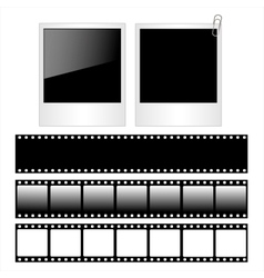 Set of polaroid photo frames and film strips vector image