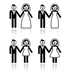 Wedding married couple bride and groom icons set vector image vector image