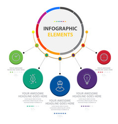 abstract circle infographic elements with five opt vector image