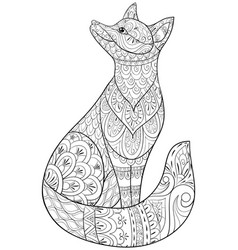 adult coloring bookpage a cute fox for relaxing vector image