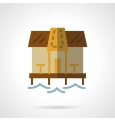Beach bungalow flat color icon vector image