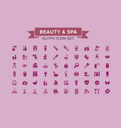 Beauty and spa glyph icon set vector