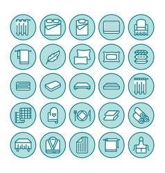 Bedding flat line icons orthopedics mattresses vector