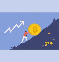 bitcoin upward growth miner lifts bitcoin vector image