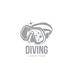 Black and white graphic diving logo template with vector