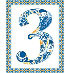 Blue number 3 vector image