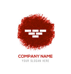 bricks icon - red watercolor circle splash vector image