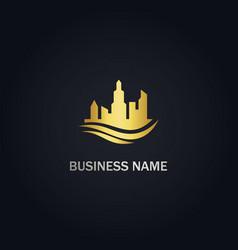 building cityscape company gold logo vector image