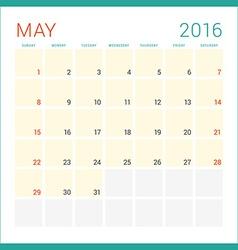 Calendar 2016 Flat Design Template May Week Starts vector