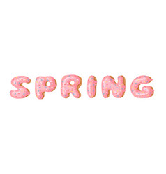 Cartoon donut and word spring hand drawn drawing vector