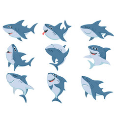 Cartoon sharks comic shark animals scary jaws vector