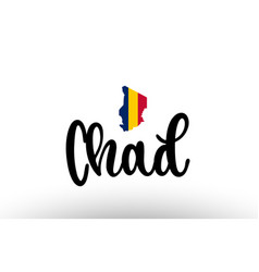 Chad country big text with flag inside map vector