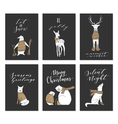 Christmas animals cards vector
