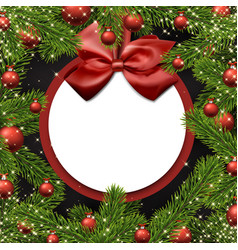 christmas round background with spruce branches vector image