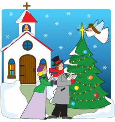 Church carolers vector