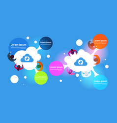 cloud computing infographic banner top view of vector image