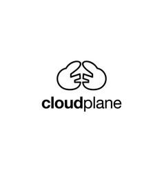 cloud plane logo design concept vector image