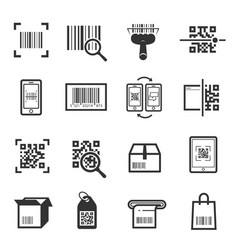 code scanning icon set isolated from background vector image