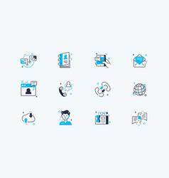 Communication line icons set vector