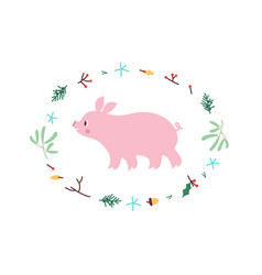 cute pig minimalistic design vector image