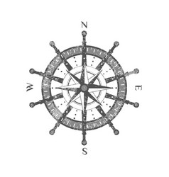 detailed antique compass wind rose icon vector image