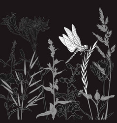 Drawing natural background with flowers vector
