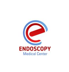 E letter icon for endoscopy medical center vector