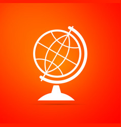 earth globe icon isolated on orange background vector image