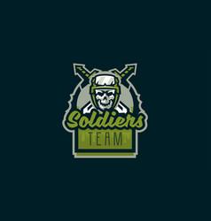 emblem soldier logo military skull vector image