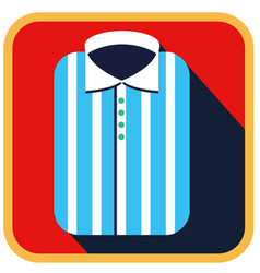 Fashionable striped man shirt flat icon vector
