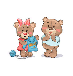 female bear knitting sweater to boyfriend vector image