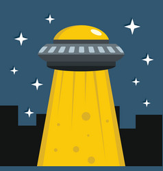 flat cartoon with ufo vector image