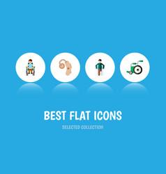 Flat icon cripple set of audiology equipment vector