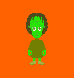 Flat on background of zombie woman vector