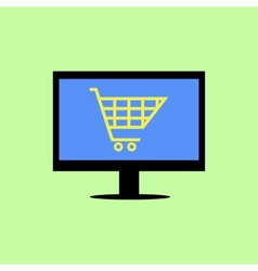 Flat style computer with shopping cart vector image