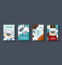flat style covers set market trade trading vector image