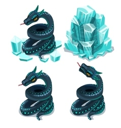 Frozen in ice and thawed snake four images vector