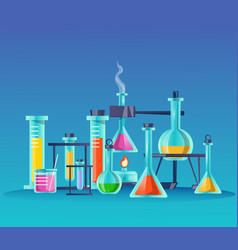 glass flasks flat scientific vector image