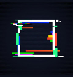 glitch square frame tv distorted signal vector image