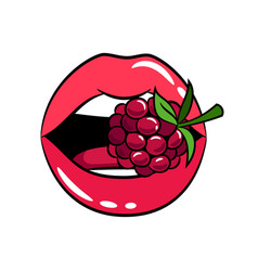Glossy woman lips with raspberry sticker vector