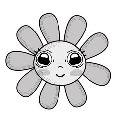 Grayscale kawaii cute flowers with big eyes and vector