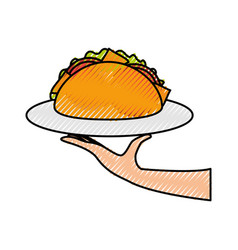 hand holding taco mexican fast food menu vector image